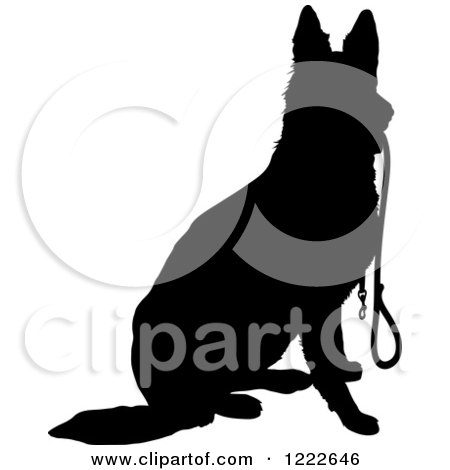 Clipart of a Black Silhouetted German Shepherd Dog Sitting.