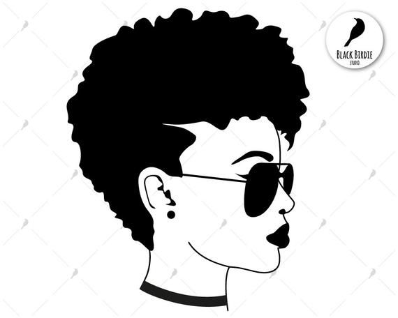 Black woman with sunglasses black silhouette and color svg.