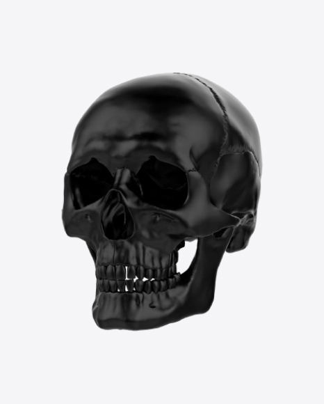 Download Black Skull Transparent PNG on Yellow Images 360°.