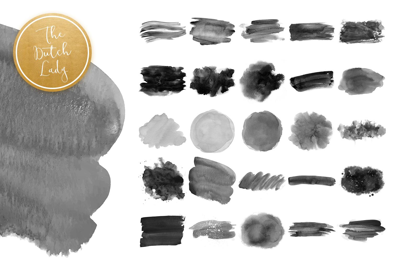 Black Watercolor Smear Clipart Set.