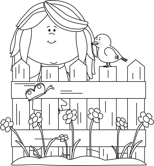 Black and White Spring Girl with a Bird Clip Art.
