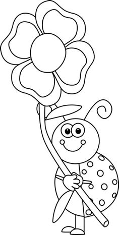 Spring clip art free black and white.