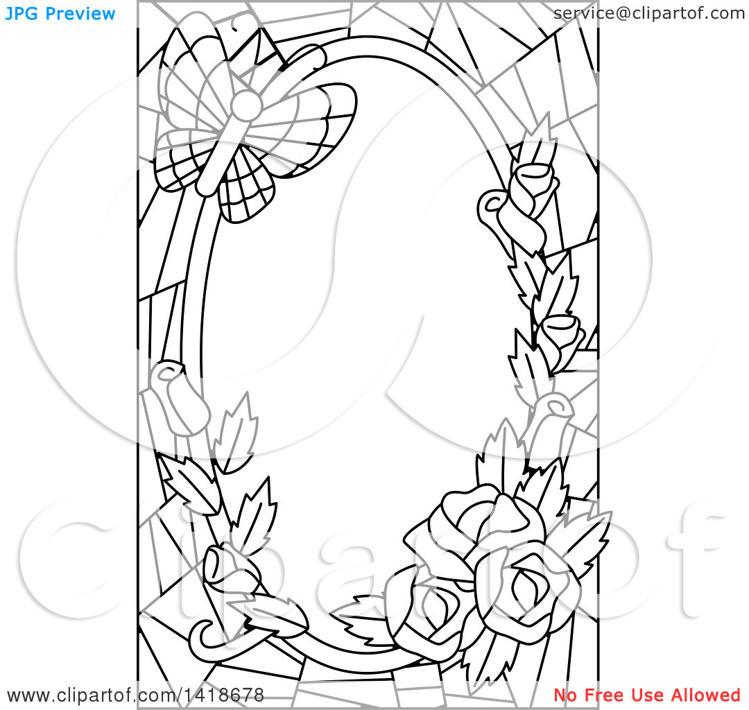 Clipart of a Black and White Lineart Stained Glass Border of Roses.