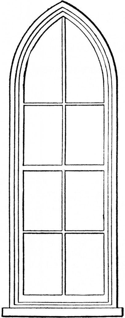 Gothic Church Windows Clip Art.