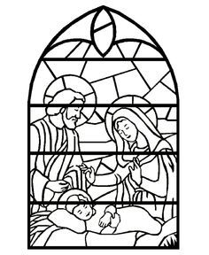 Stained glass christmas candle to color black and white clipart.