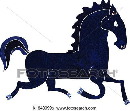 Cartoon running black stallion Clipart.