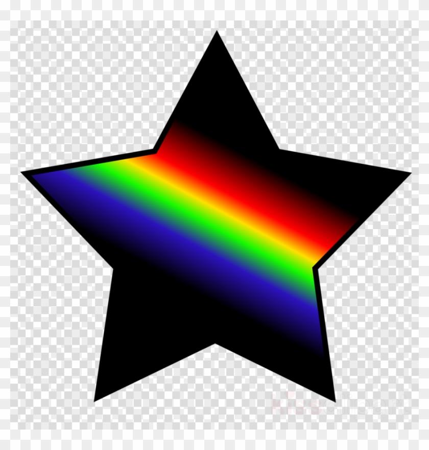 Rainbow Star With Black Clipart Clip Art.