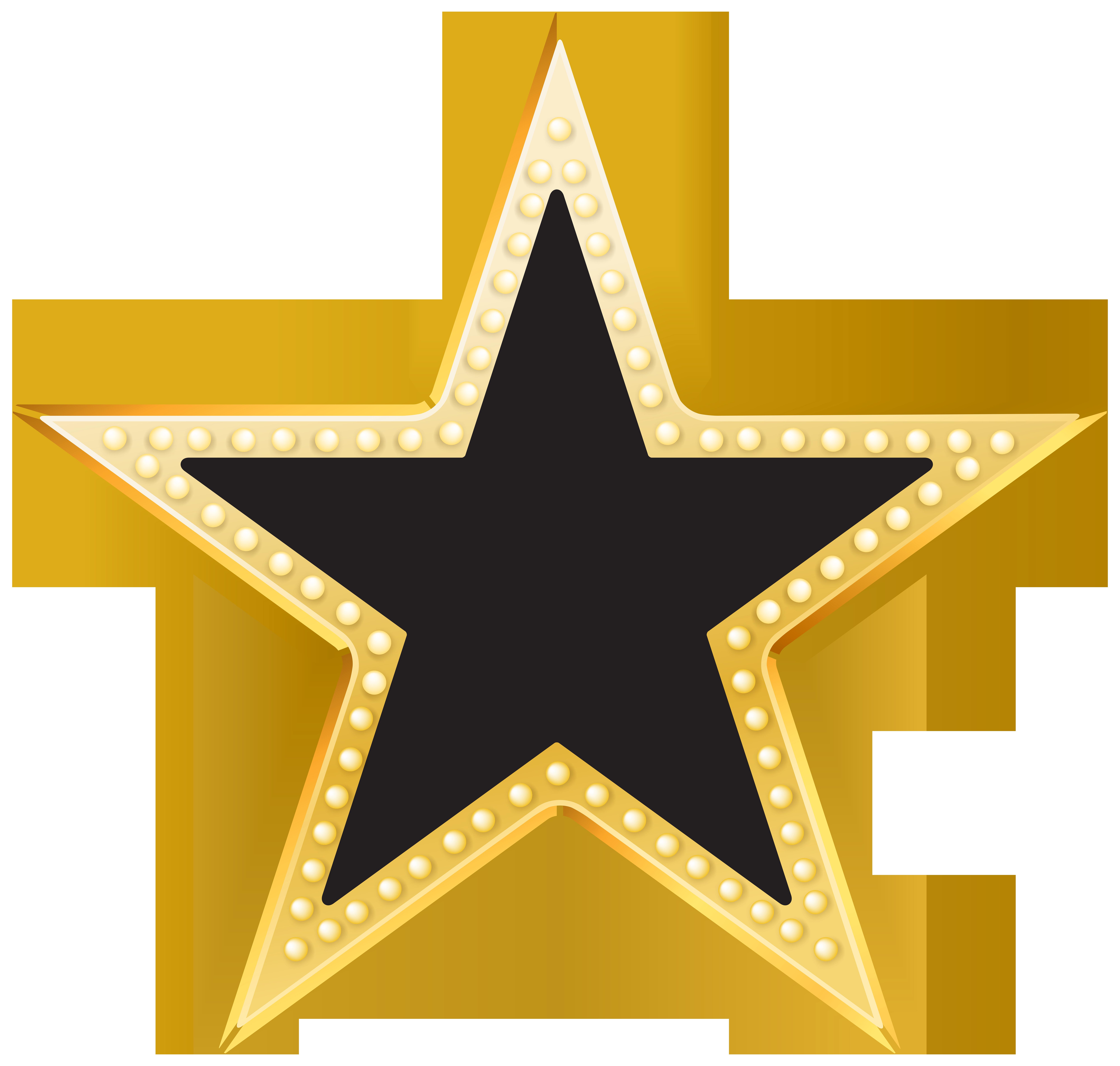 Gold and Black Star PNG Transparent Clip Art Image.