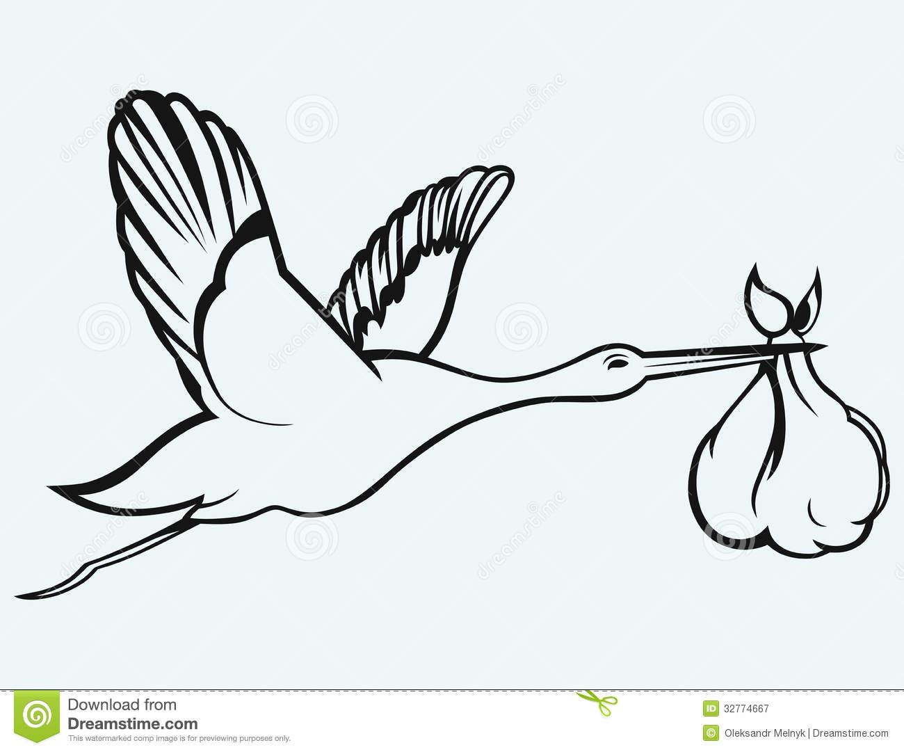 Black Stork Baby Clipart.