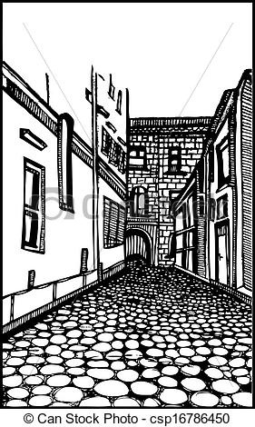 Clipart Vector of Architecture Street Scene Vector.