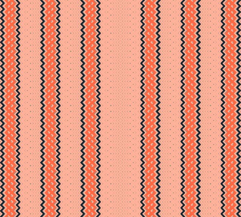 Ticking Stripe Coral Medium Bordered by Thin Black Stripes.