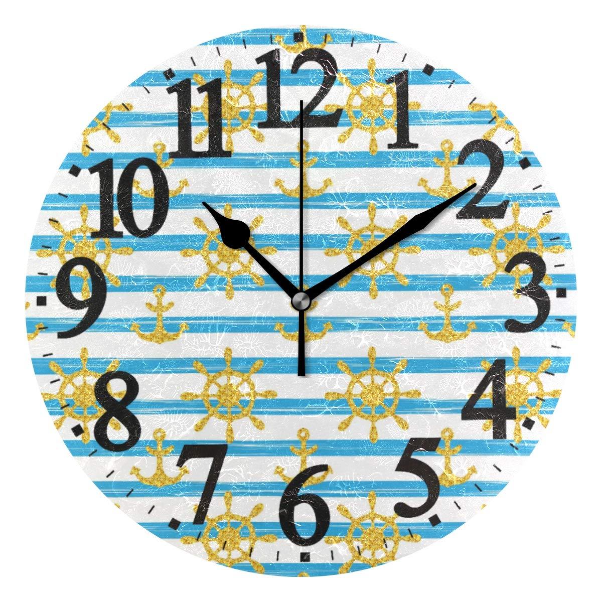 Amazon.com: WIHVE Round Wall Clock Nautical Golden Glitter.