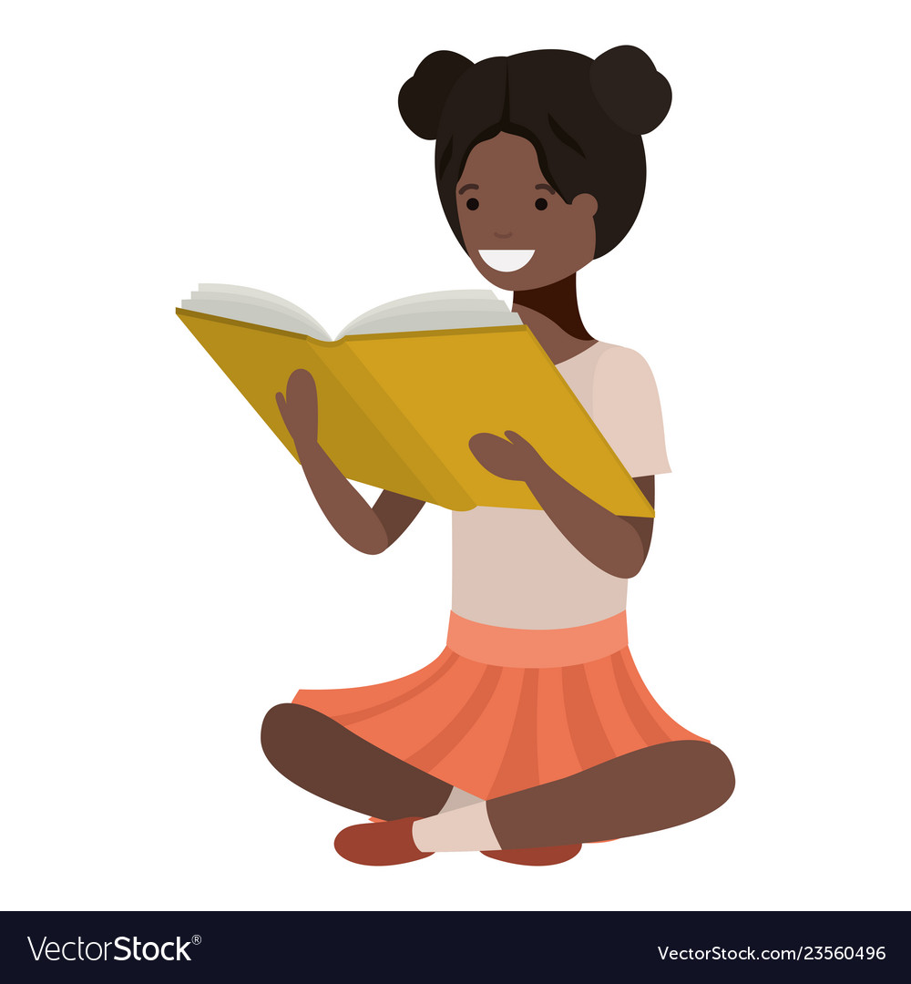 Young black student girl sitting reading book.