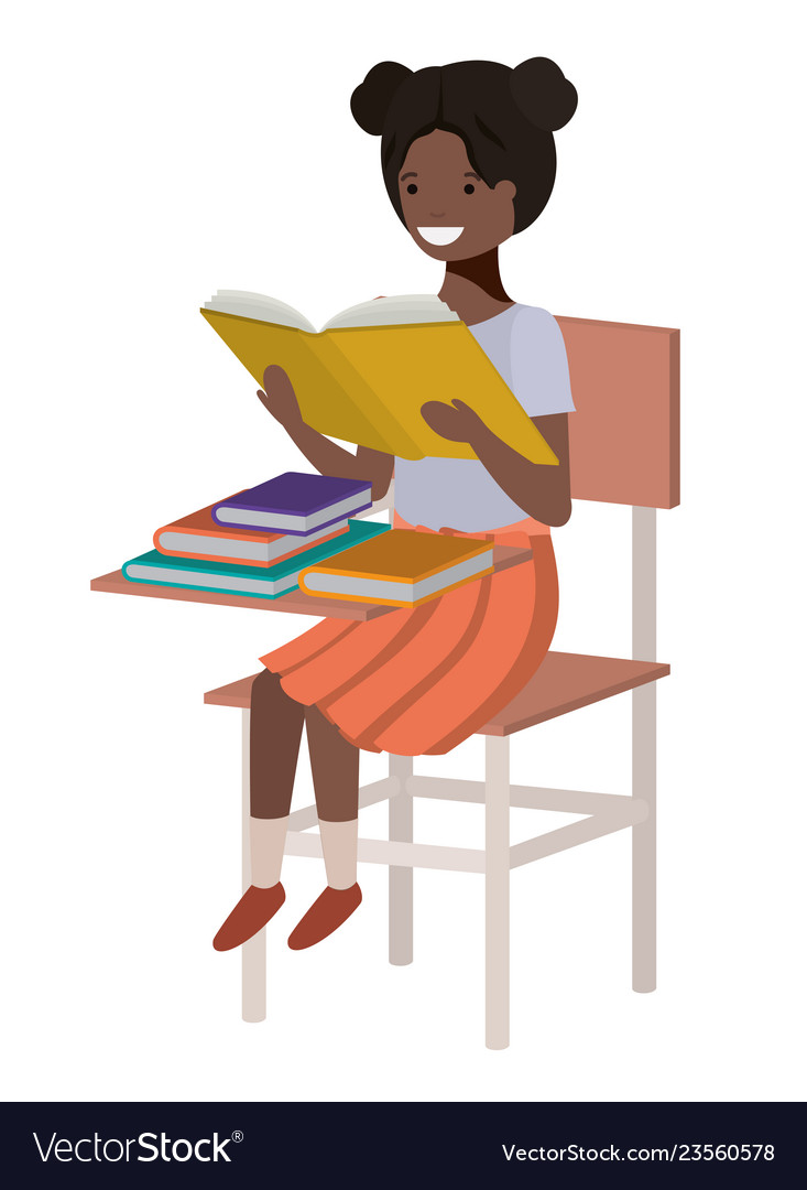 Young student black girl reading in school chair.