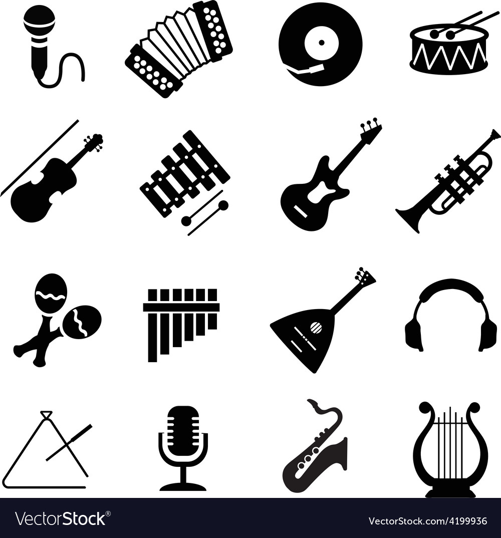Assorted black musical instruments icons.