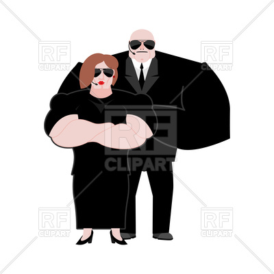 Bodyguard husband and wife in black suit Vector Image.