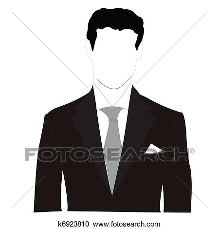 Silhouette men in black suit Clipart.