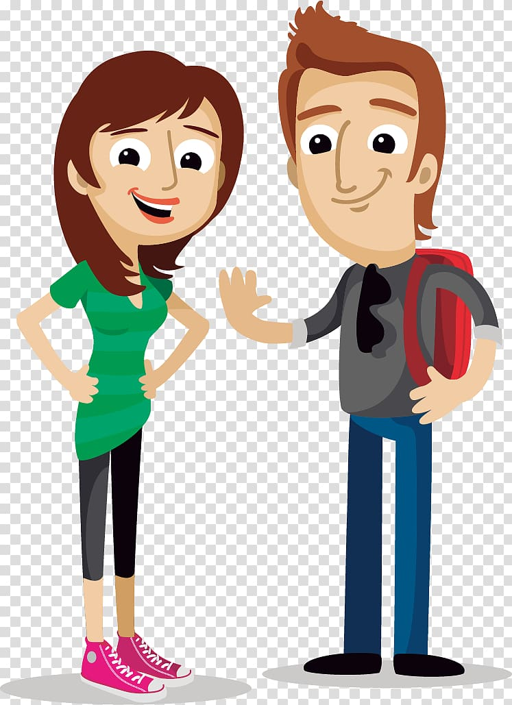 Boy and girl , Cartoon Illustration, Cartoon young men and.