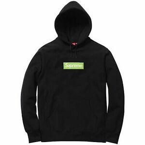 Details about Genuine Supreme Box Logo Hoodie M Black FW17 Yellow BOGO  Kanye LV Shindy Palace.