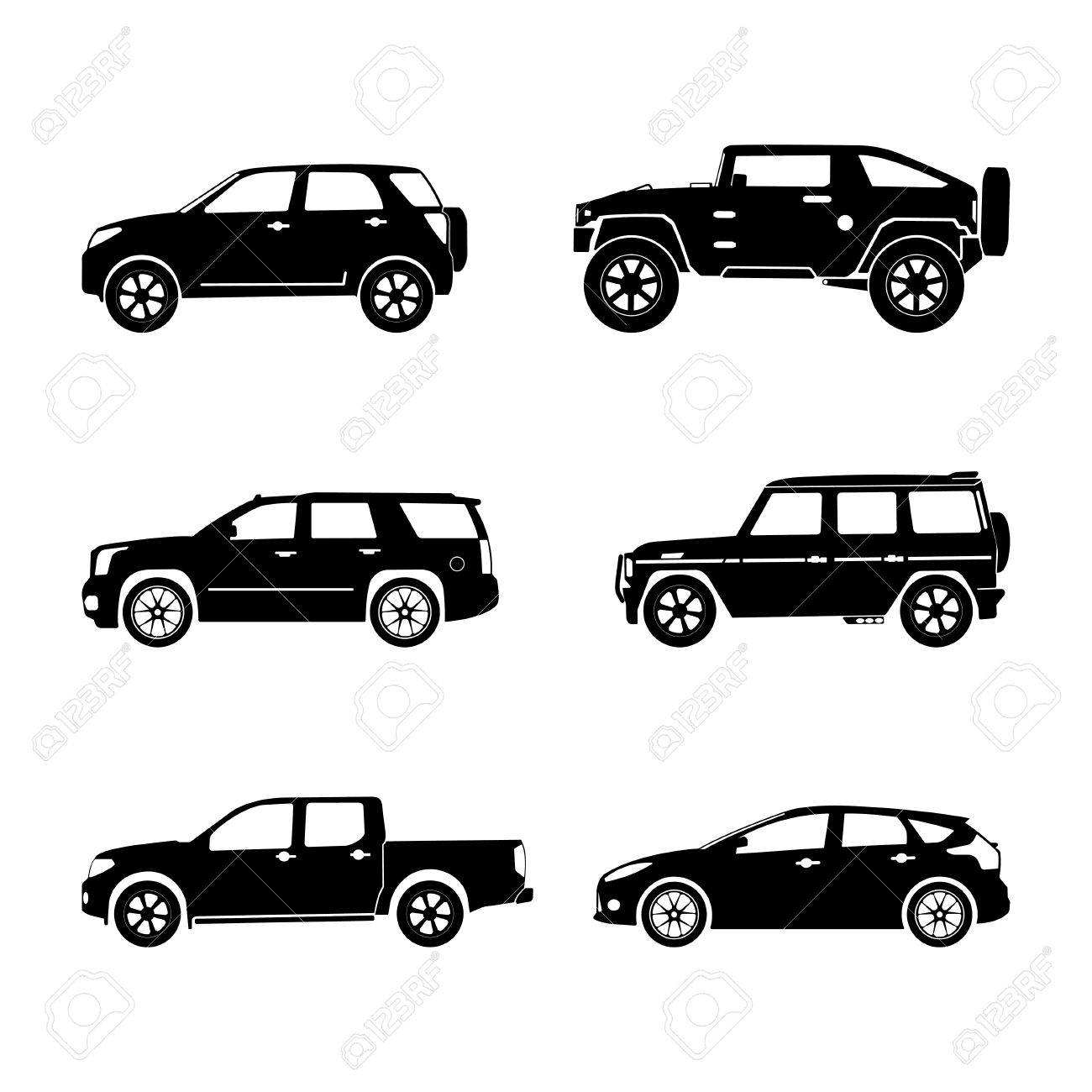 Black silhouette cars on white background. Vector SUV set.