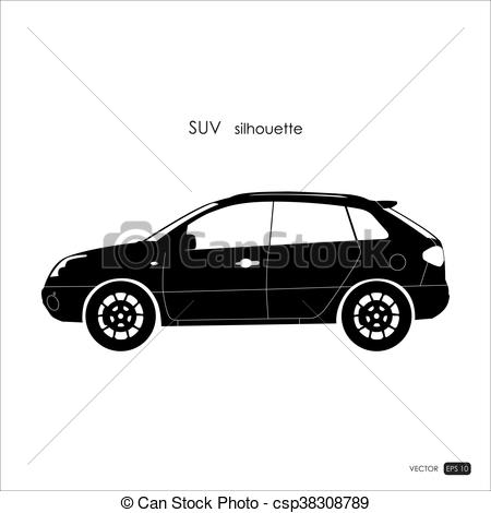 Black SUV silhouette on white background..