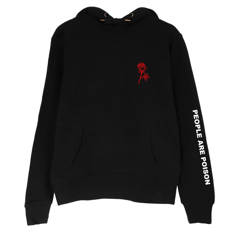 People Are Poison Rose Sleeve Print Hoodie Womens Sweatshirt Black Tumblr  Inspired Aesthetic Pale Pastel Grunge Aesthetics.