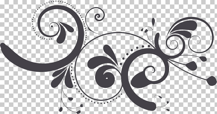 Swirls Pic, black flower graphics PNG clipart.