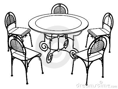 Table And Chair Clipart Black And White.