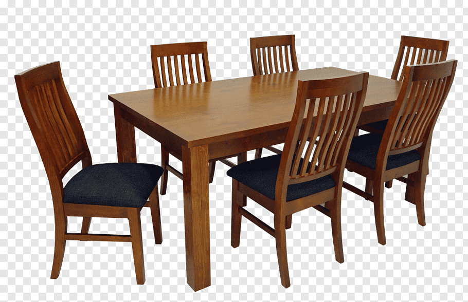 Rectangular brown wooden dining table and six brown wooden.