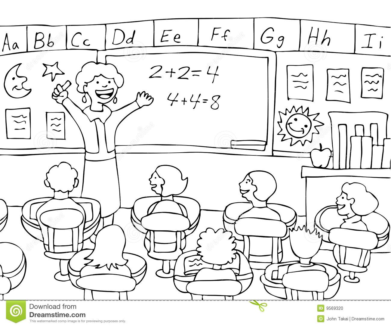 Teacher Teaching In Classroom Clipart Black And White.