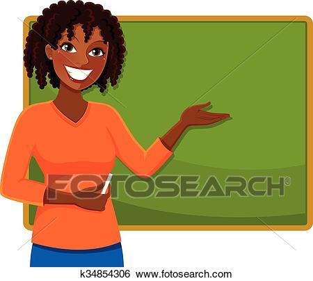Happy black teacher Clip Art.