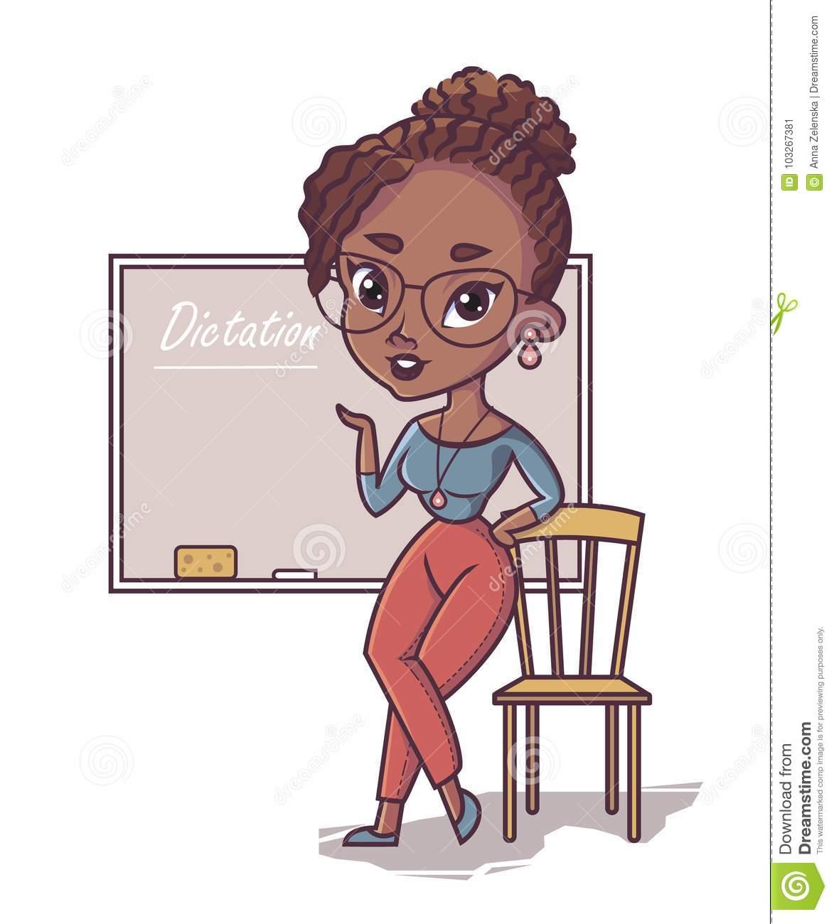 African Teacher, Black Young Woman Professor Standing Stock Vector.