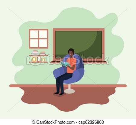 classroom with black teacher reading book in the sofa.