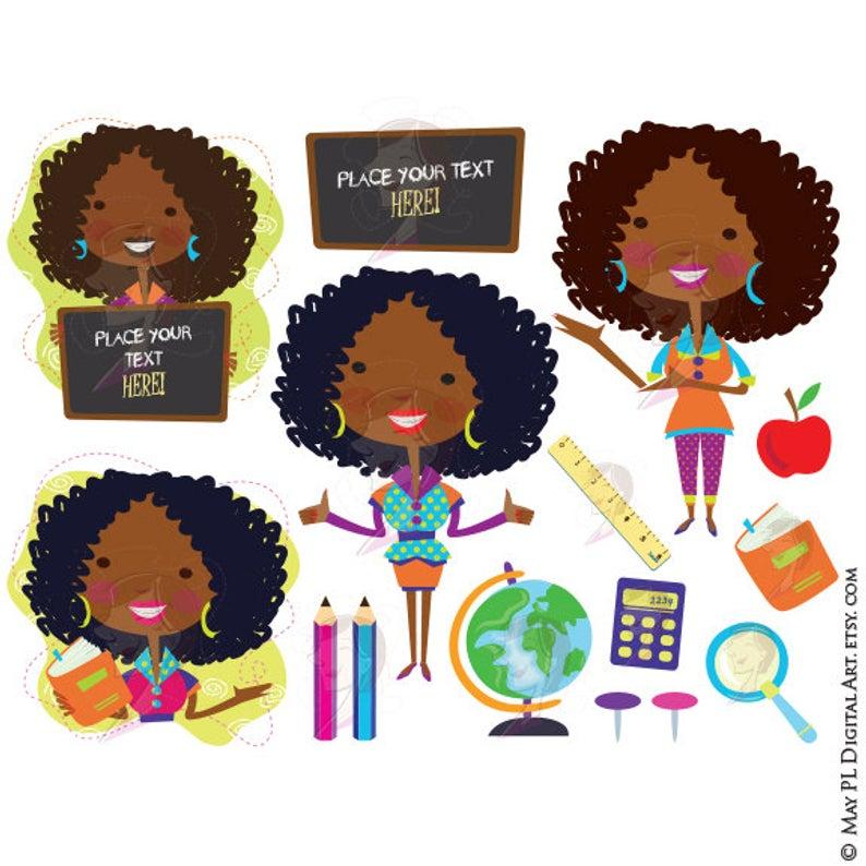 Classroom Teacher Clip Art African American Black Teacher Back To School  VECTOR Graphics Chalkboard Pencils Globe Book Apple Clipart 10665.