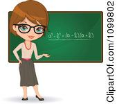 Clipart Friendly Brunette Female Math Teacher With Glasses.