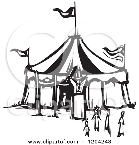 Clipart of a Ringmaster People and Circus Tent Black and White.
