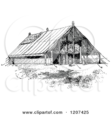 Cartoon of a Vintage Black and White Arab Tent.