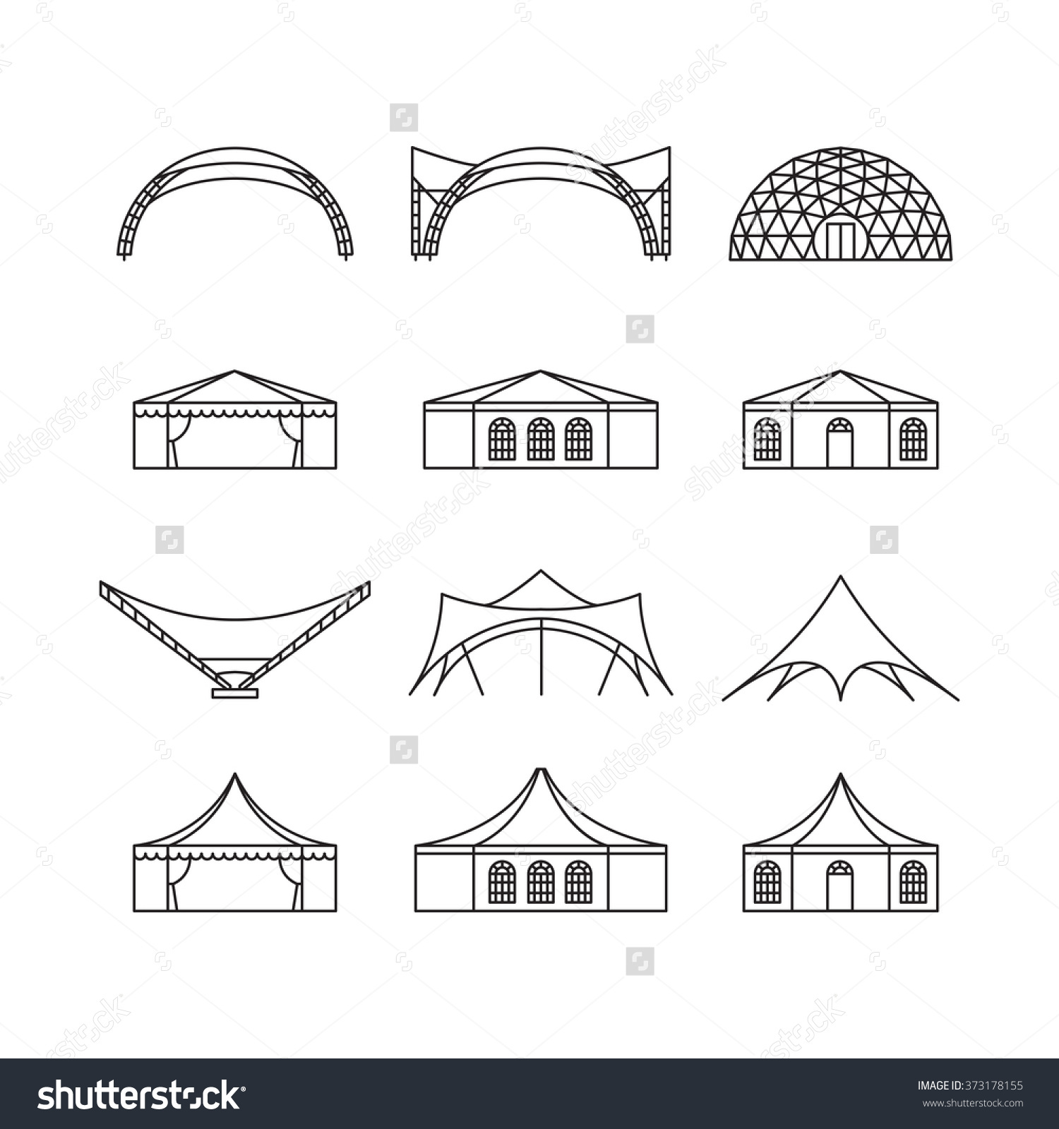 Icon Set Various Types Event Tent Stock Vector 373178155.