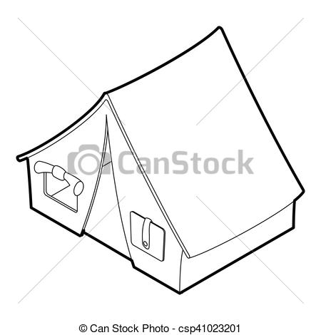 Vector Clipart of Tent icon, outline style.
