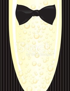Black Tie Event Tuxedo and Champagne Glass with Bubbles.