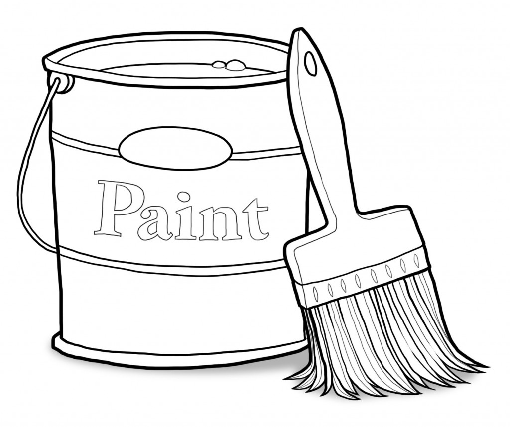 Paintbrush clipart paint tin, Paintbrush paint tin.