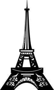 Eiffel tower clip art black and white.