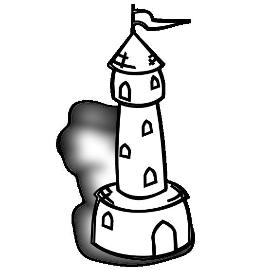 Rpg Map Symbols Round Tower with Flag Black White Line Art.