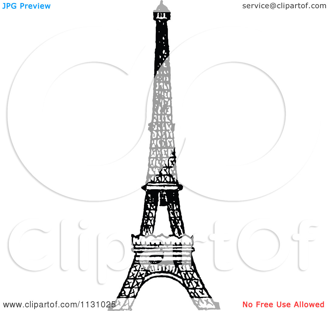 Clipart Of A Retro Vintage Black And White Eiffel Tower.
