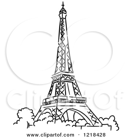 Clipart of a Black and White Sketched Eiffel Tower 2.