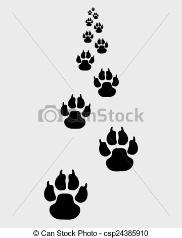 Vector Clip Art of trail of dog.