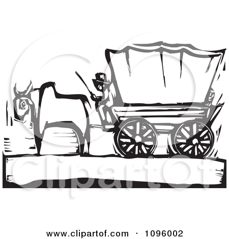 Clipart Pioneer And Ox With A Covered Wagon On The Oregon Trail.