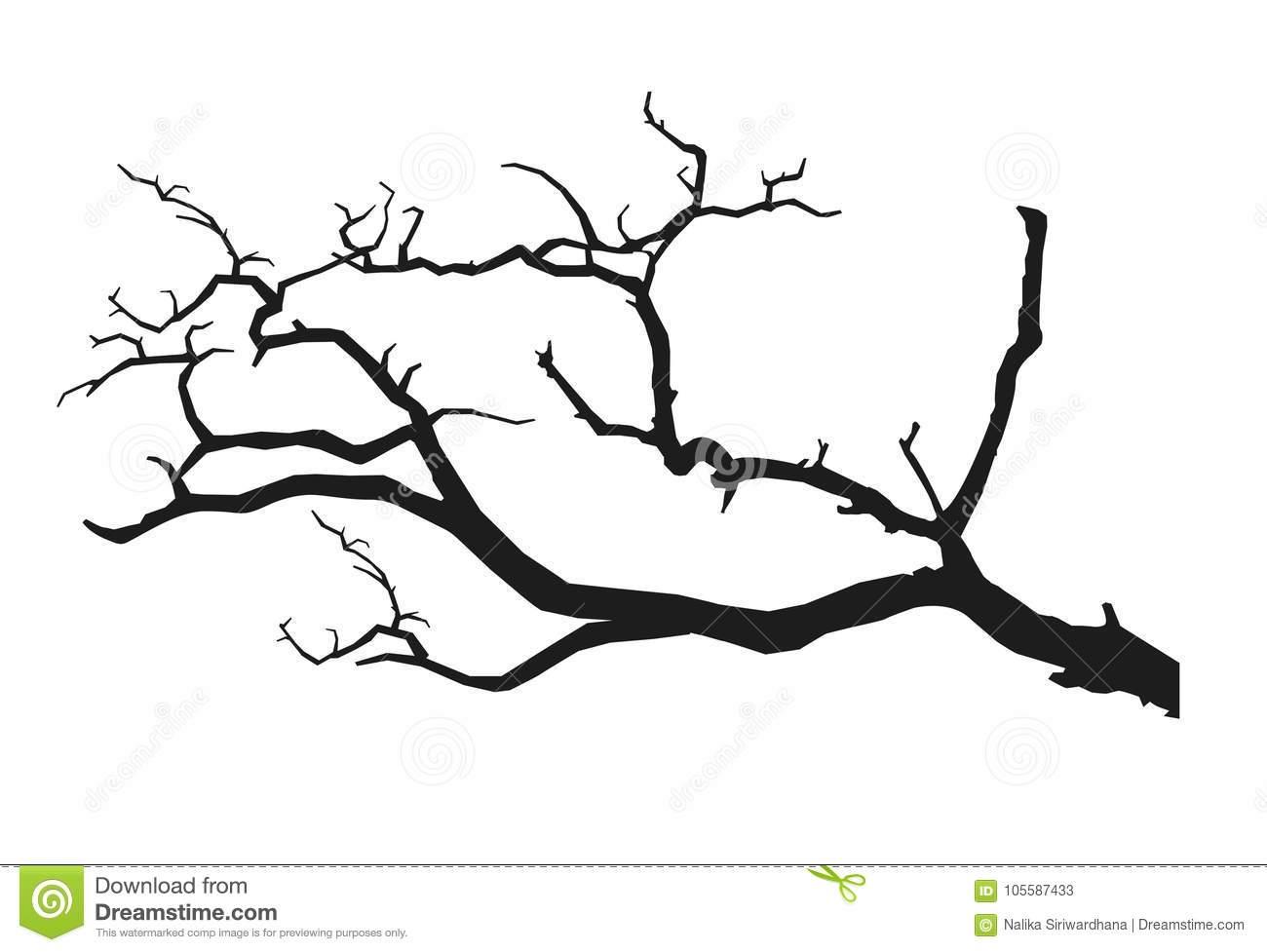 Black tree branch stock vector. Illustration of clipart.