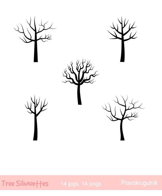 Tree Silhouette clipart, Black tree clip art, Fingerprint tree, Anniversary  tree, Wood clipart, Decorative tree clip art, Nature silhouettes.