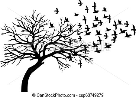 scary bare black tree silhouette and flock of flying birds.